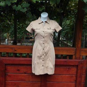 Button down khaki dress